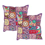 Decorative Purple Throw Pillow Cushion Covers for Sofa Set of 2 Cases Embroidery Sequins Patchwork Home Bedding Accessories - Aheli