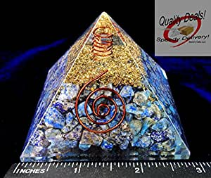 Charged Gemstone Orgone Pyramid – Certified Orgonite® Healing Crystals and Copper Lapis Lazuli Bio–Energy Enhancing Tool by Beverly Oaks