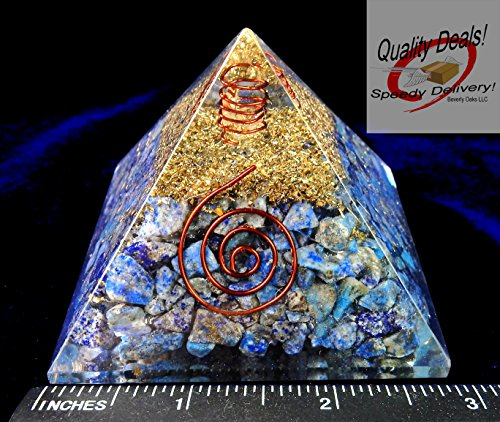 Bird Lapis Lazuli (Charged Gemstone Orgone Pyramid – Certified Orgonite® Healing Crystals and Copper Lapis Lazuli Bio–Energy Enhancing Tool by Beverly Oaks)
