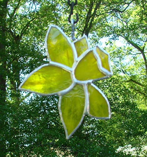 Yellow Daffodil Flower Handmade Jonquil Stained Glass Sun Catcher Ornament