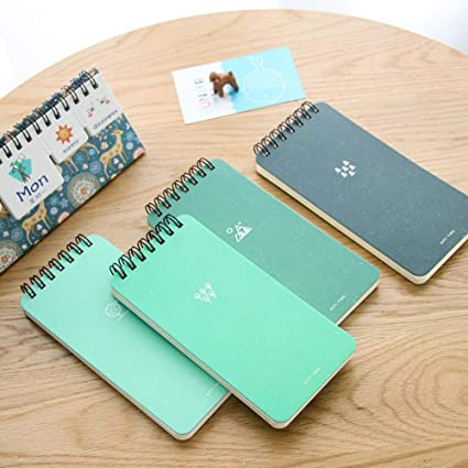 Amazon.com : Green notepad Mini coil notebook 80 sheet line ...