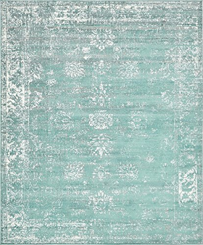 Turquoise 8' x 10' FT Canterbury Rug Modern Traditional Vintage Inspired Overdyed Area Rugs