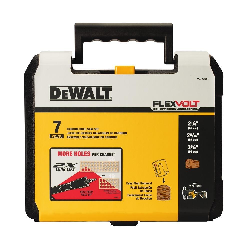 DEWALT DWAFV07SET FLEXVOLT Carbide Wood Drilling Hole Saw Kit, 7 Piece by DEWALT
