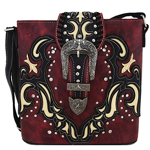 Western Style Buckle Belts Cross Body Handbags Concealed Carry Purse Women Country Single Shoulder Bags (Red) by Western Origin