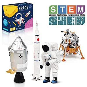 Lehoo Castle Building Toys for 5-8 Year Old, Lunar Space Station Space Shuttle Building Kit Including Astronaut, Rocket, Space Capsule and Lunar Lander, STEM Toys for Boys and Girls, New 2020 (109pcs)