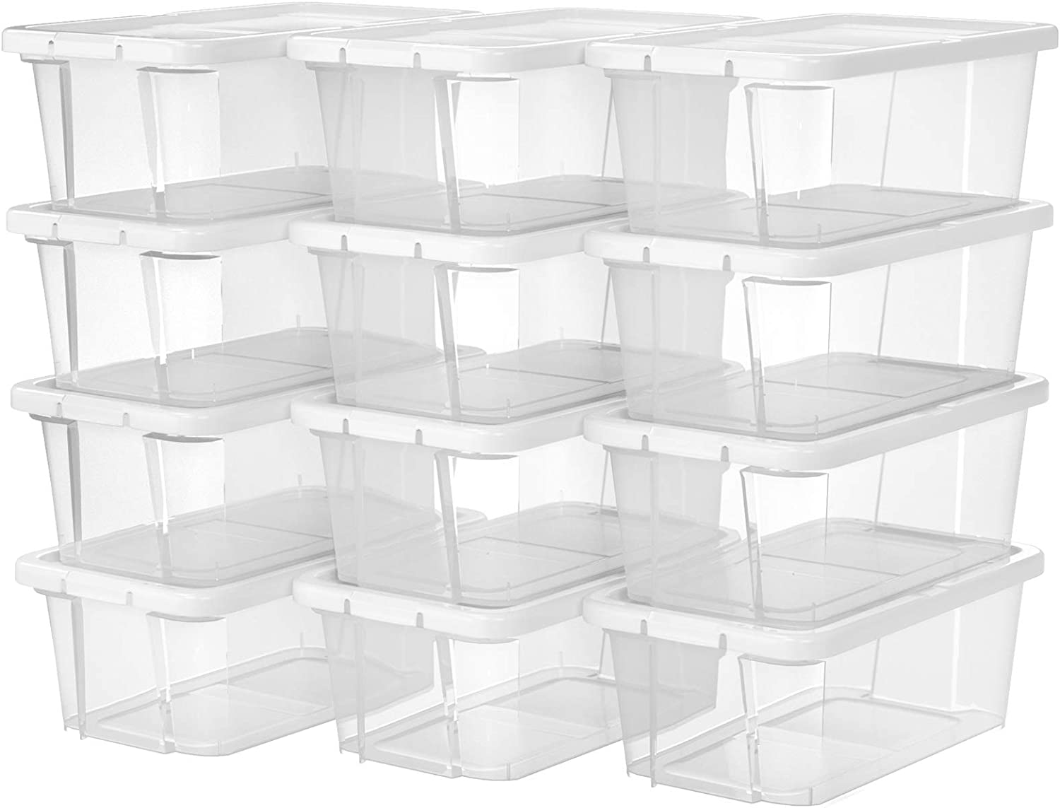 SONGMICS Set of 12 shoe boxes, storage boxes for shoes, shoe storage, storage box, transparent with lid, plastic for shoes up to size 41, LSP12WT