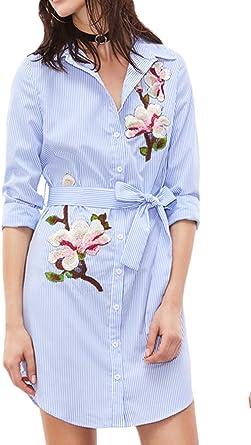 Vestido De Camisa para Mujer Primavera Verano Casual Rayas Bordadas Mini Vestidos: Amazon.es: Ropa y accesorios