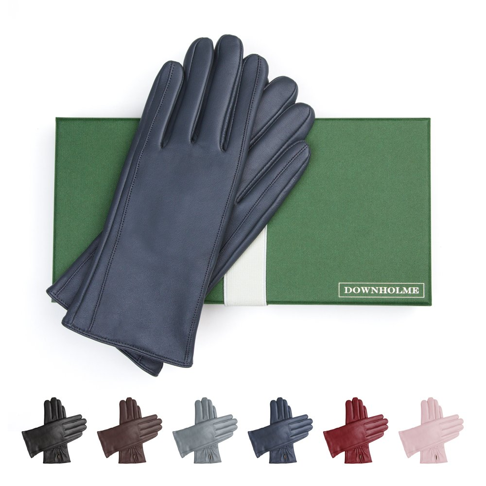 Downholme Leather Cashmere Lined Gloves for Women (Dark Blue, S)