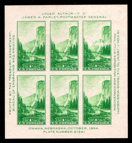 1934 Yosemite National Park Souvenir Sheet of Six Stamps Scott (6 Stamps Souvenir Sheet)