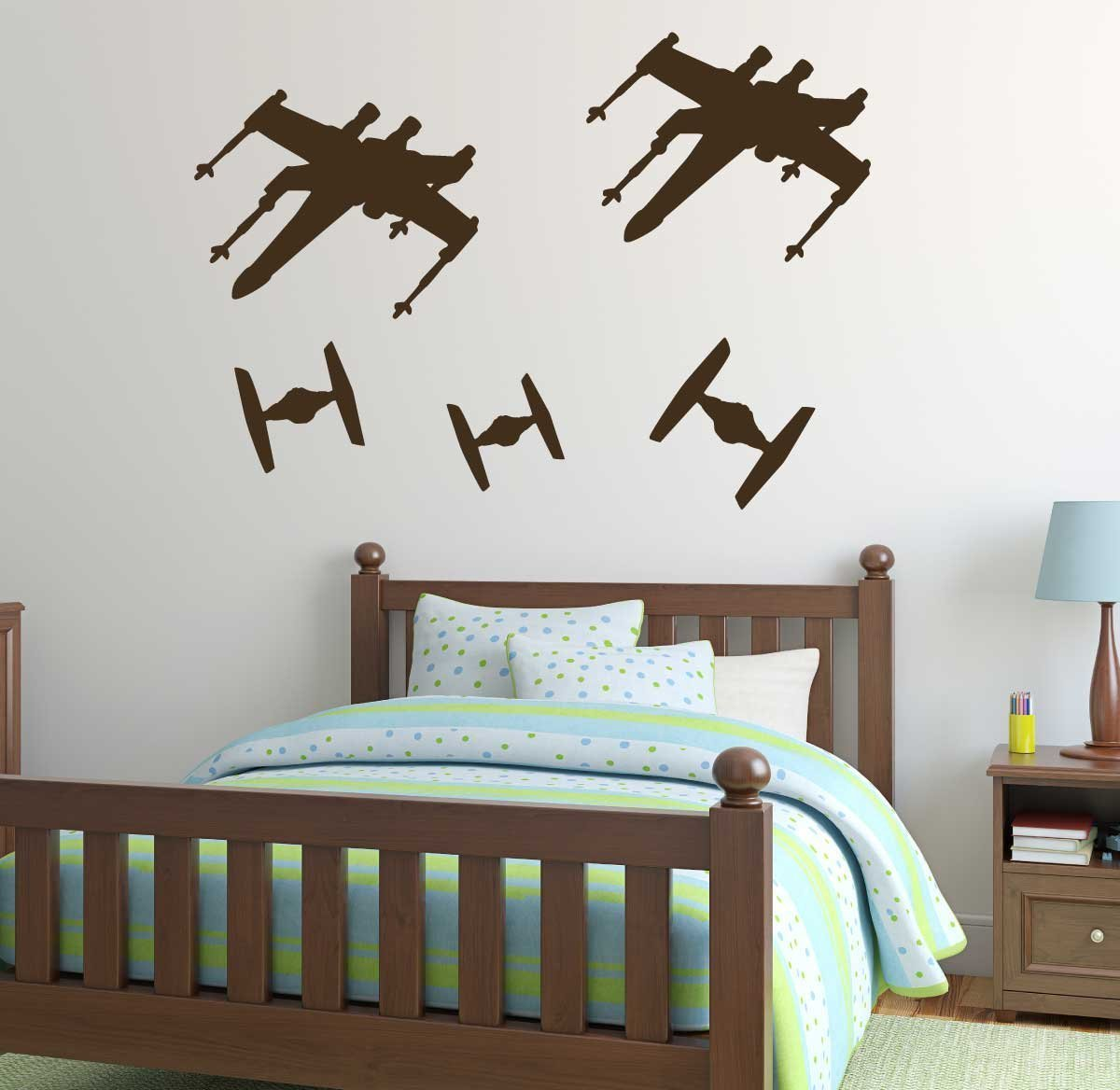 Star Wars Wall Decals - TIE Fighters Versus X-Wing Starfighter Spaceship Stickers - Space Battle Vinyl Decor for Boy's Bedroom, Playroom, Nursery, School Classroom, Library