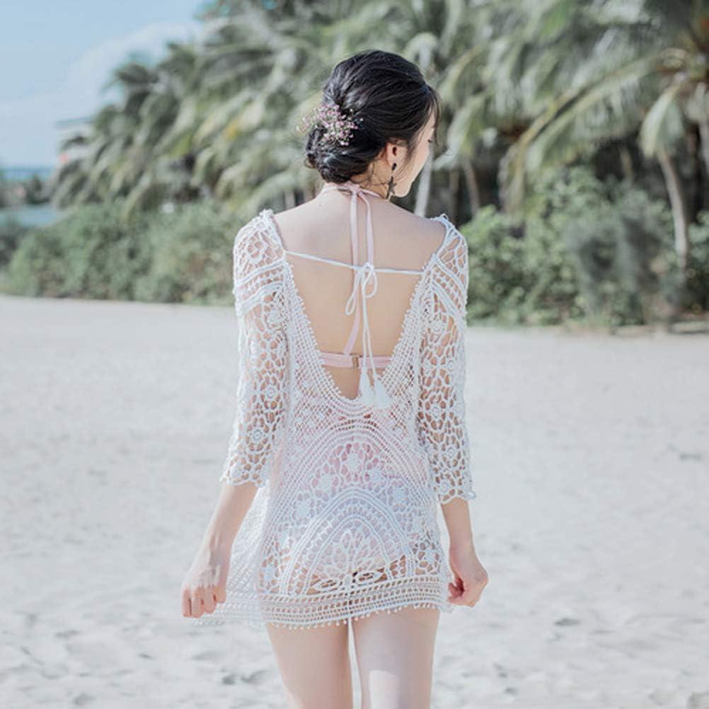 Okwin Copricostume da Bagno Donna in Maglia Estate Uncinetto Abito da Spiaggia Bikini Cover up Camicetta