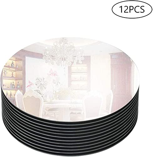 Murrey Home 12 Bevel Edge Mirror Tray Round for Wedding Decorations Decor, Candle Tray Plate for Baby Shower, Parties Centerpieces, 12 Pack, 3mm