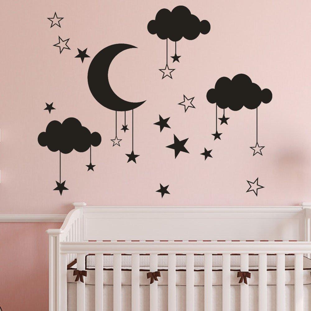 Topgrowth Adesivi Murali DIY Nuvole Grande Palloncino Stickers Murali Sticker Camera dei Bambini Decorazioni per la Casa (Nero) YJL80223766