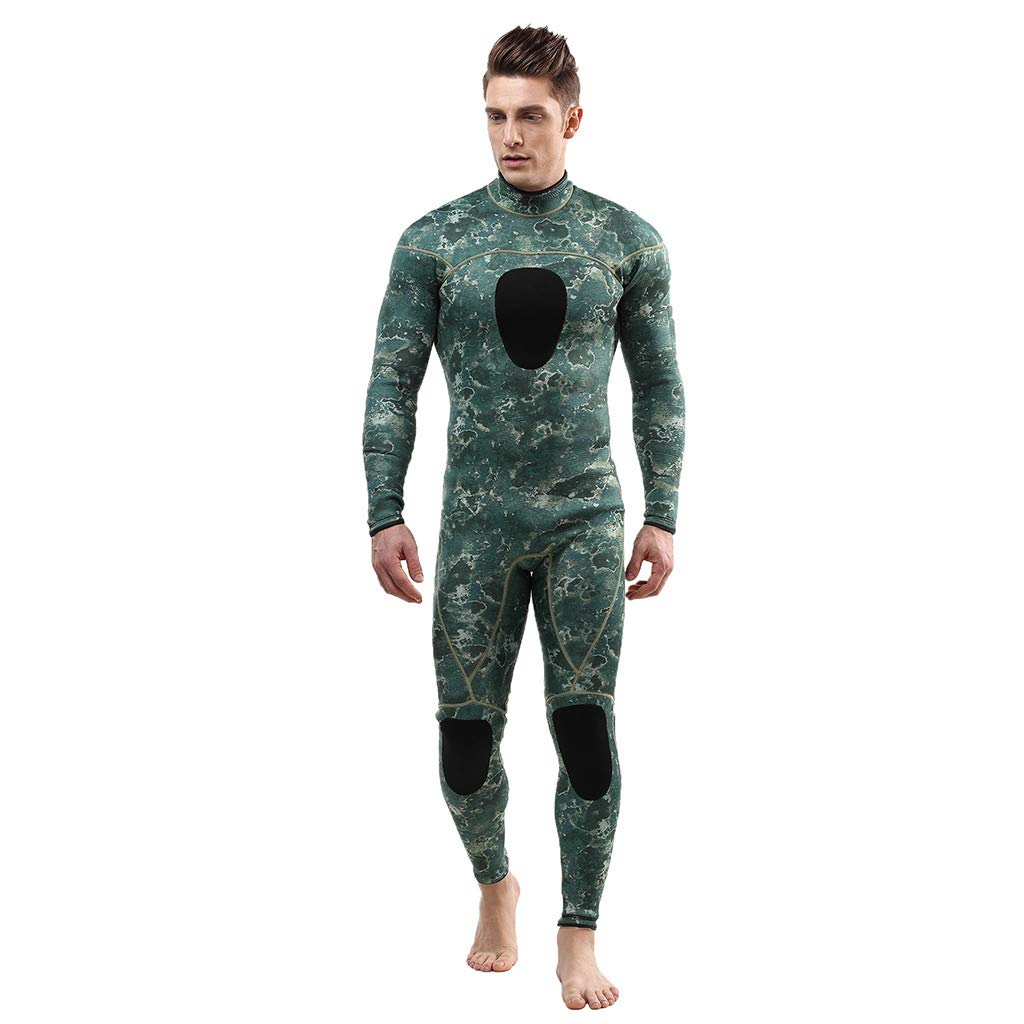 IEasⓄn Men Stretch Diving Suit,3mm Unisex Camouflage Freediving Spearfishing Underwater Wetsuit