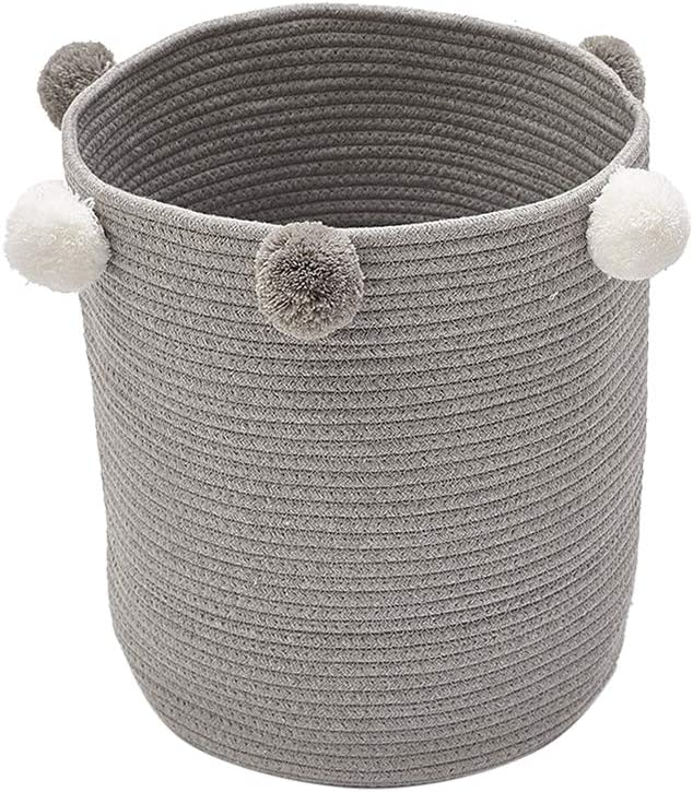 Baffect Large Cotton Rope Basket,Baby Nursery Storage Basket Fabric Storage Basket Organiser Woven Baskets Laundry Basket for Nursery Kids Baby Toy Storage Basket Pink