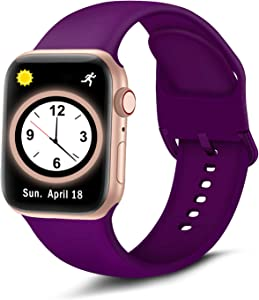 Brigtlaiff Compatible with Apple Watch Bands 38mm 40mm 42mm 44mm, Soft Silicone Sport Replacement Women Men Strap with Unique Colors Clasp for iWatch Series 6 5 4 3 2 1 SE - 38mm 40mm, Wine Plum