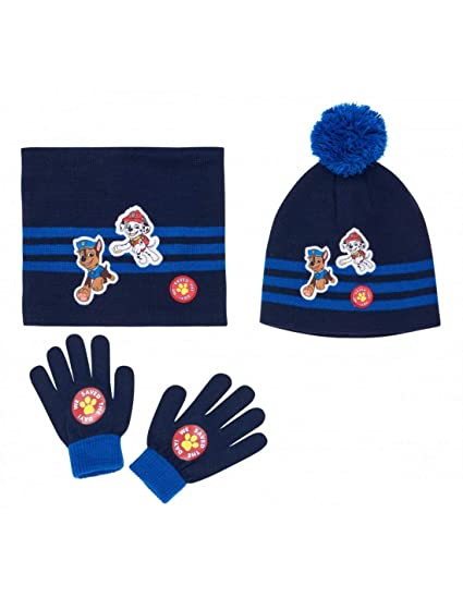 c2354177f4e81 La Pat' Patrouille Set Snood, bonnet et gants enfant garçon Marine de 3 à