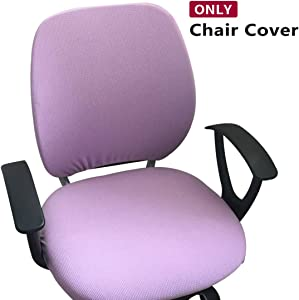 Jiyaru Rotating Armchair Slipcover Removable Stretch Computer Office Chair Cover Light Purple (Only Cover)