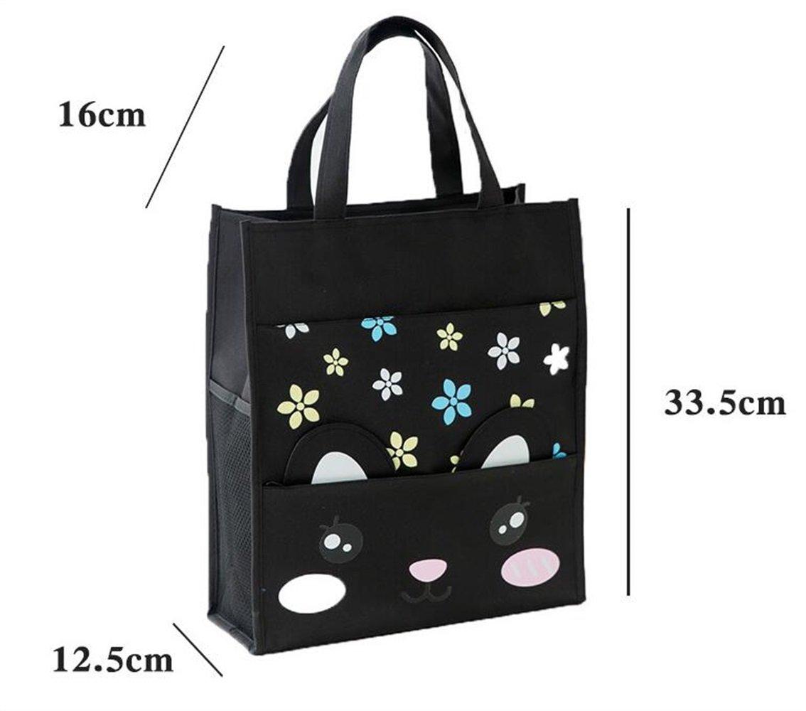 Womens Stylish Tote Bag Handbag Flower Black Waterproof Canvas Primary Schoolbag Art Bag Small File Handbag Tutorial Bag Tote Bag