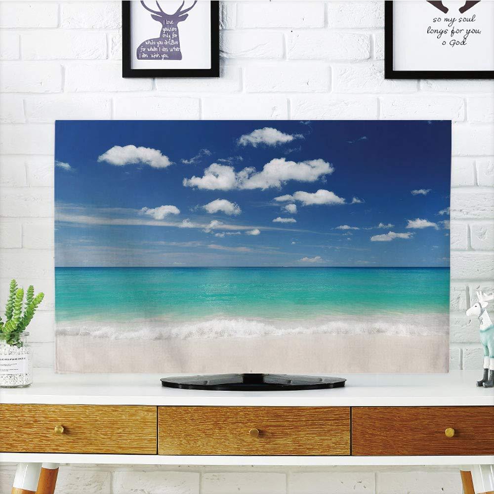 YCHY 液晶テレビダストカバー カスタマイズ可 トロピカルビーチ ヤシの木とハンモック付き ハワイのリラックス装飾 ブルーホワイト グラフカスタマイズデザイン 32インチテレビ対応 TV 37