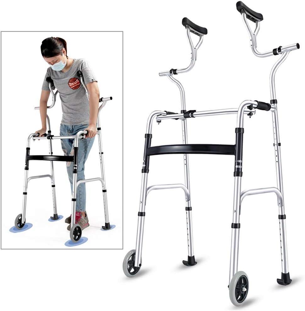 Andador Andadores para Ancianos Andador para personas de la tercera edad con soporte axilar, muleta plegable de aluminio para trabajo pesado con ruedas, andador vertical de pie para personas altas, ca