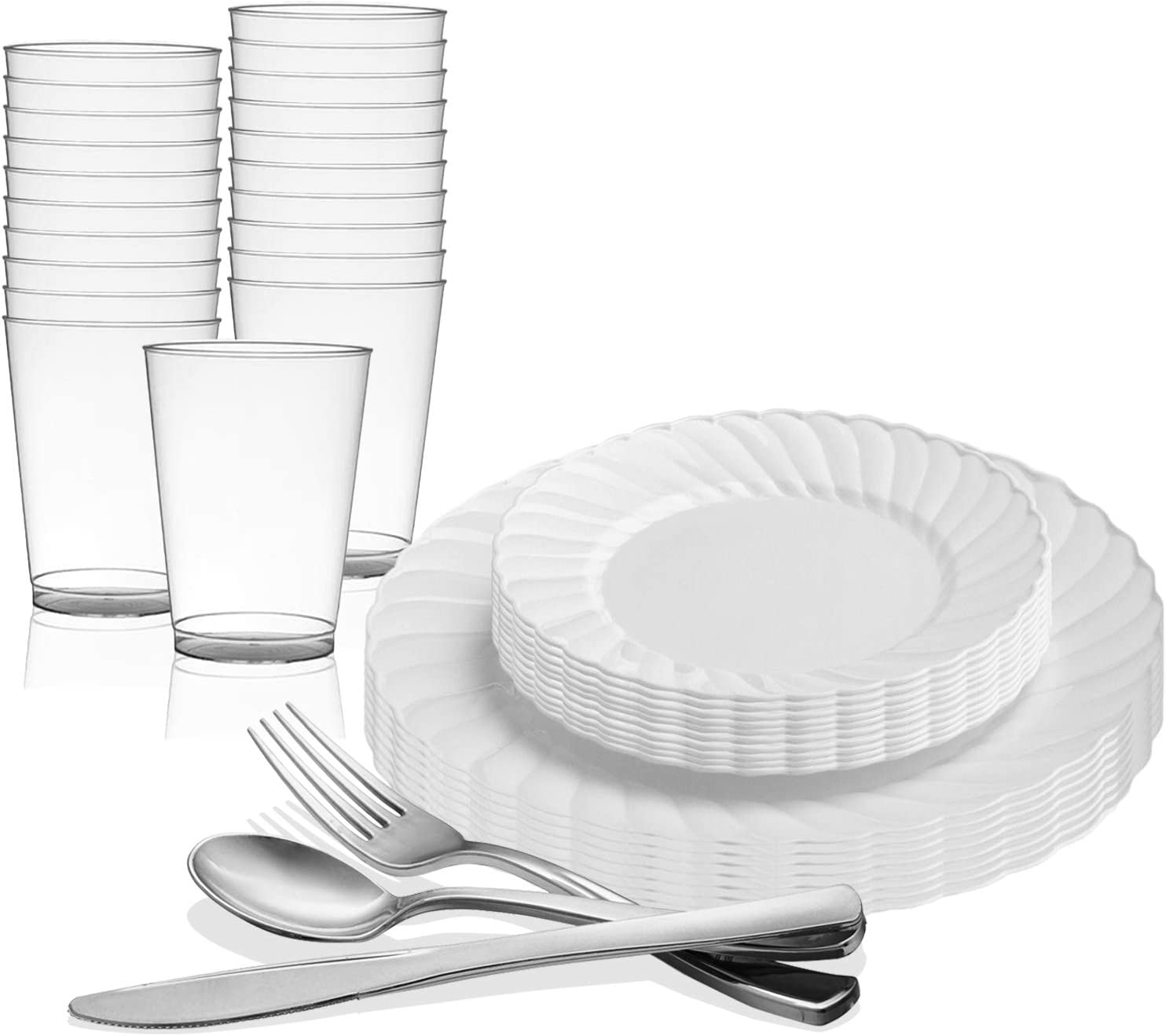 Amazon Com Kaya Collection White Disposable Plastic Dinnerware Party Package 72 Person Package Includes Dinner Plates Salad Dessert Plates Silver Cutlery And Tumblers Kitchen Dining
