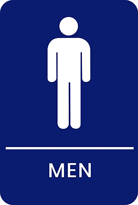 Blue mens bathroom sign Ada Restroom Amazoncom Mens Braille Restroom Sign Blue Official Bathroom Sign With Double Sided 3m Tape On Back Office Products Amazoncom Amazoncom Mens Braille Restroom Sign Blue Official Bathroom