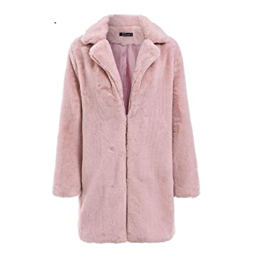 RWXCJ® Elegante Rosa Shaggy Mujer Piel sintética Abrigo Callejero otoño Invierno cálido Peluche Abrigo de