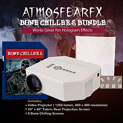 (Atmosfearfx Bone Chillers Video Projector with SD media card. No DVD Player required. SD media card runs in video projector. )