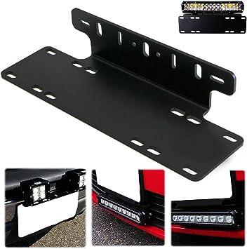 Heavy Load Offroad Bumper License Plate Mounting Bracket LED Work Fog Light Lamp