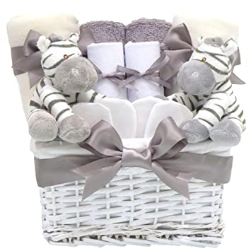 Zebra Luxury Unisex Newborn Twin Baby Shower Gifts Hampers⼁New Born Neutral Boy and Girl