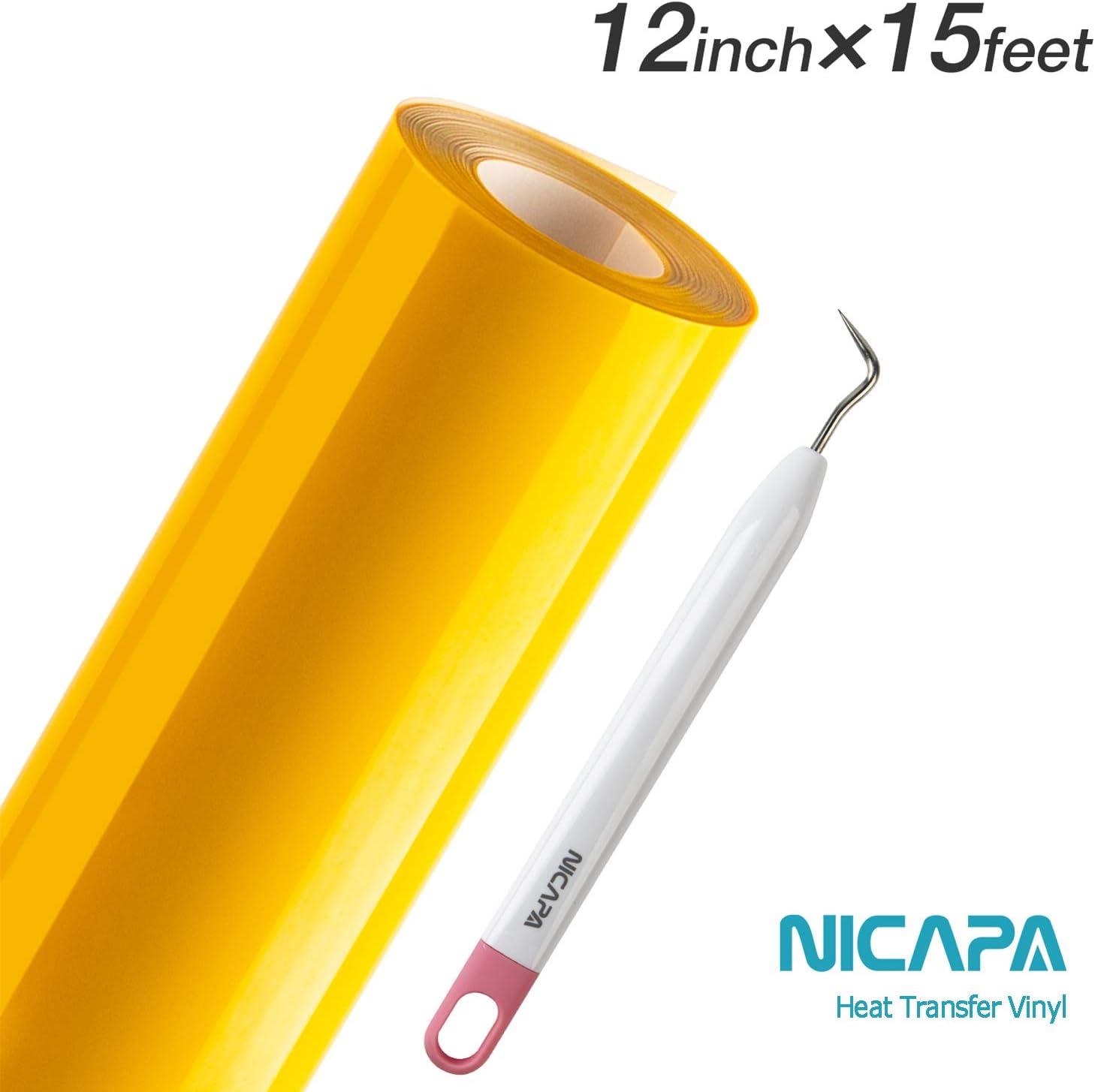 Nicapa 12inch x15feet Heat Transfer Vinyl Roll for Cricut/&Silhouette T-Shirt Art