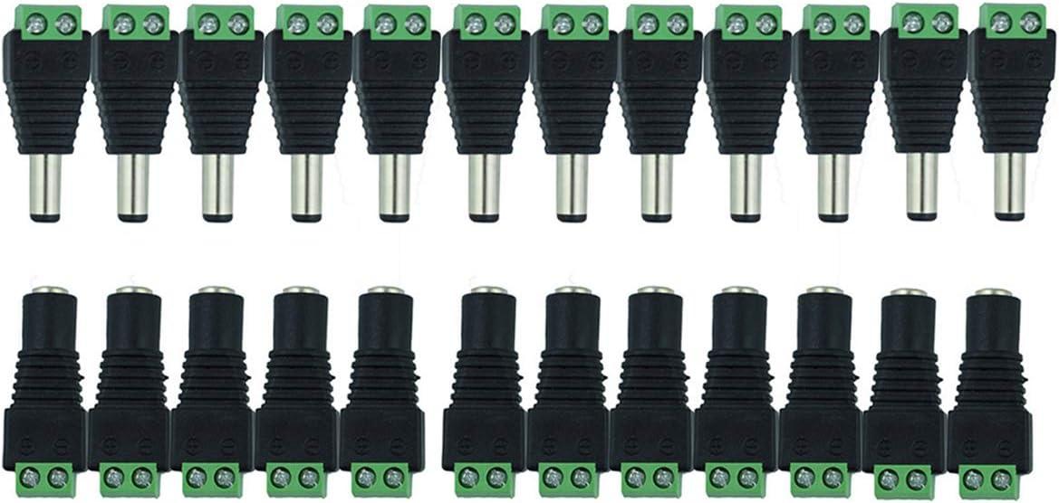 MZMing [12 Pair] Male Female DC Power Connector 12V DC Adapter Conveniente Enchufe De Luz Usado Para CCTV Interface / Monitor / Camera / LED Bar Connector - 2.1 X 5.5 mm