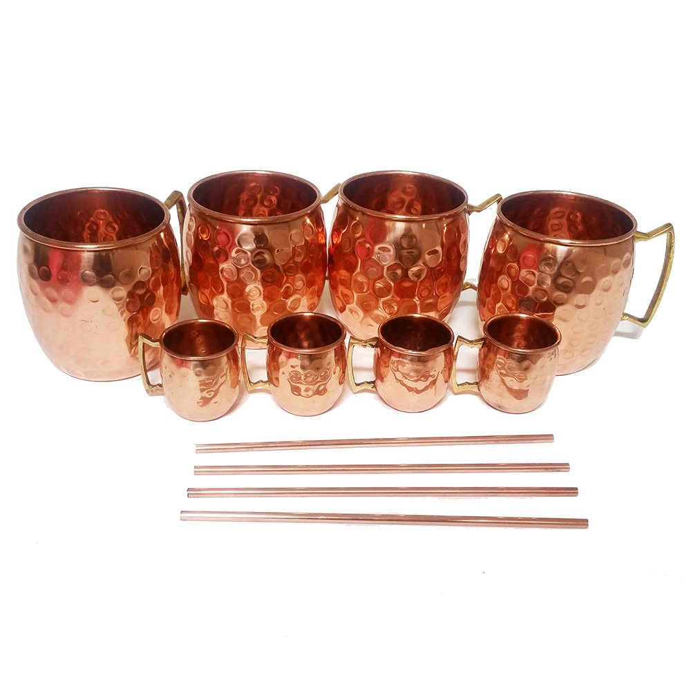 Set of 4 Moscow Mule Mug/Shot Glass/Straw Complete Set 100% Copper