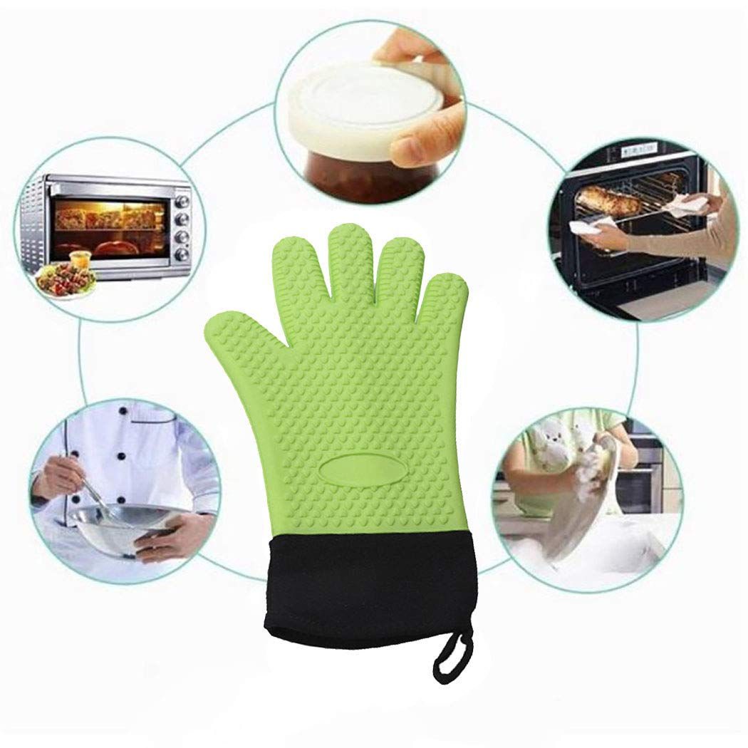 Grill Gloves,Heat Resistant BBQ Gloves,Waterproof Insulated Silicone Oven Mitts,13.7\