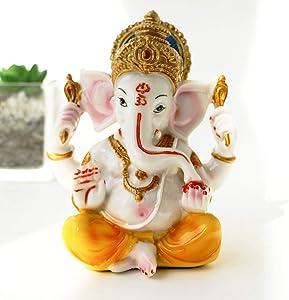 BangBangDa India Ganesh Statue Home Pooja - Hindu Murti Temple Elephants Ganpati - Indian Small Ganesha Collections Diwali Decor