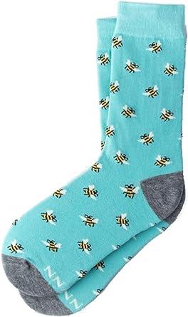Womens Designer Just Bee Yourself Yellow Bees Novelty Crew Dress Socks