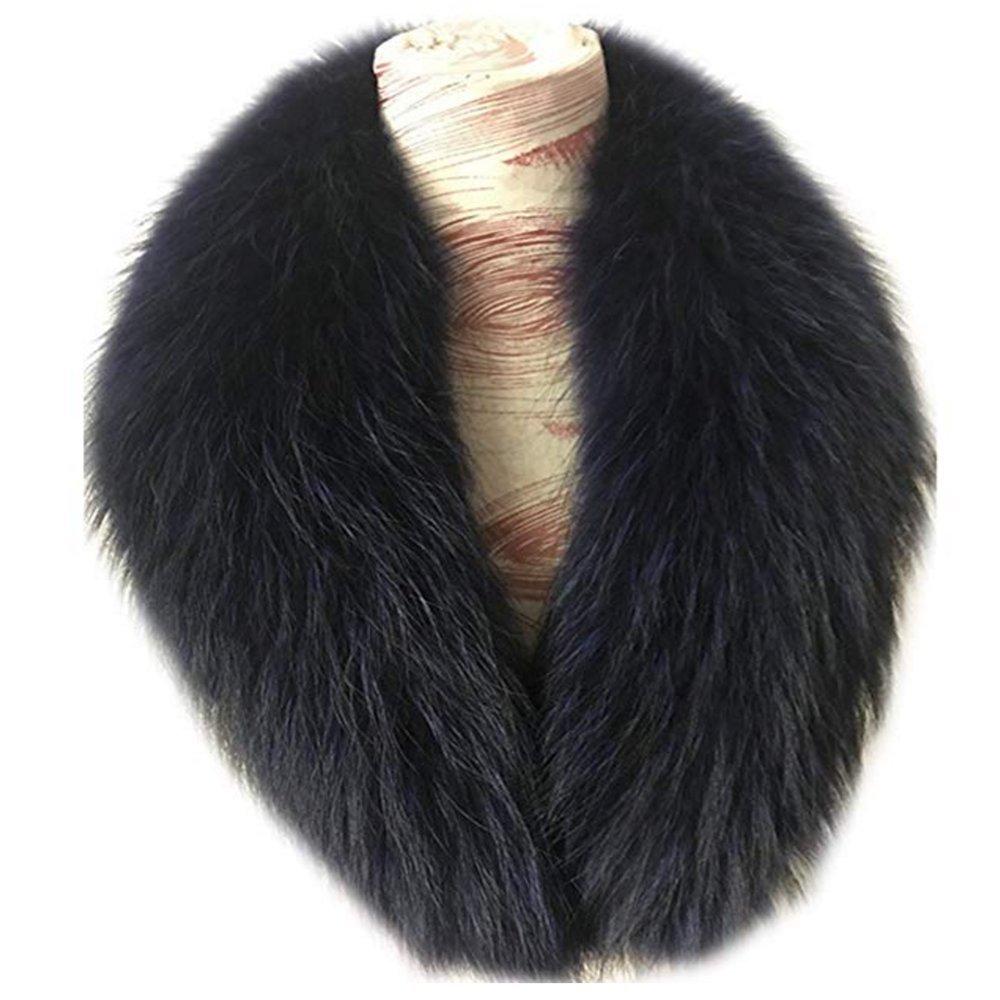 真アライグマ毛皮の襟マフラー生きgegefur女子6色 B07DFMD57K 90cm Blue-8 Blue-8 90cm
