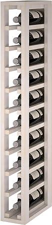 Expovinalia ew2031 Botellero Especial-Modulo para 10 Botellas, Madera, Blanco, 12x32x105 cm