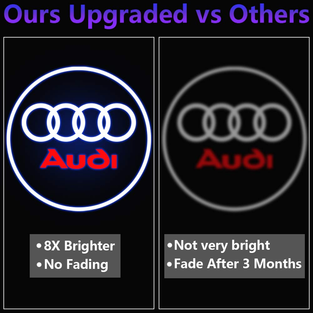 2 Pcs Car Door Projector LED Logo Lights Audi Puddle Entry Ghost Shadow Welcome Lighting for Audi A1 A3 A4 A5 A6 A7 A8 Q3 Q5 Q7 R8 TT Accessories /& Parts Emblem Reflector Lamp