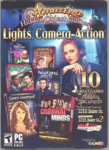 Free Amazing Hidden Objects Games Lights, Camera, Action PC DVD-Rom 10 Great Games