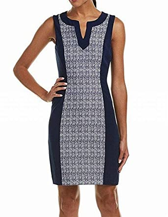 65b94f79a5cc Tahari by ASL Women's Split Neck Sheath Dress Blue 16 at Amazon Women's  Clothing store: