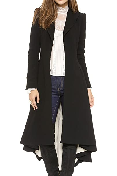 La Mujer Invierno Elegante Pañuelo Dobladillo Plisado Sólido Abrigo De Tweed con Frente Abierto: Amazon.es: Ropa y accesorios