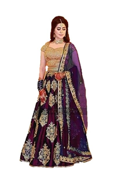 0c8e5cc579b Red Lion Enterprise Women s Embroidered Taffeta Silk Semi Stitched Lehenga  Choli with Dupatta Free Size(Green Color))  Amazon.in  Clothing    Accessories