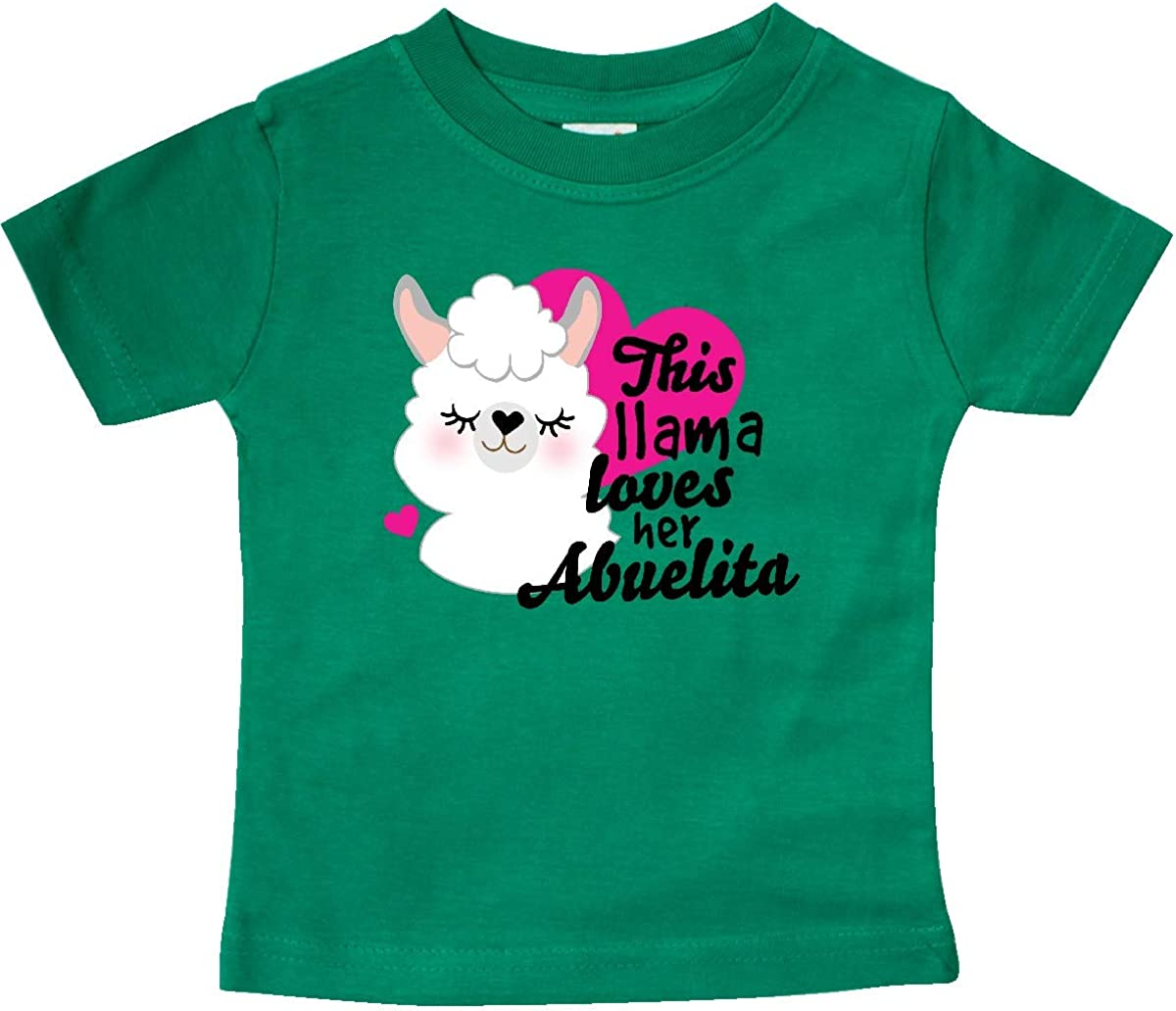 inktastic Valentines Day This Llama Loves Her Abuelita Baby T-Shirt