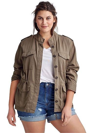 4df4f45911fe2 Ellos Women s Plus Size Drapey Military Jacket at Amazon Women s ...