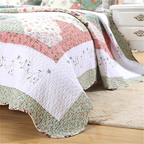 Cozy Line 100% Cotton Floral Patchwork Green Tiffany 3 Pcs Scalloped Edge Country Reversible Quilt Bedding Set Bedspread Coverlet,Full/Queen Size by Cozy Line Home Fashions (Image #2)