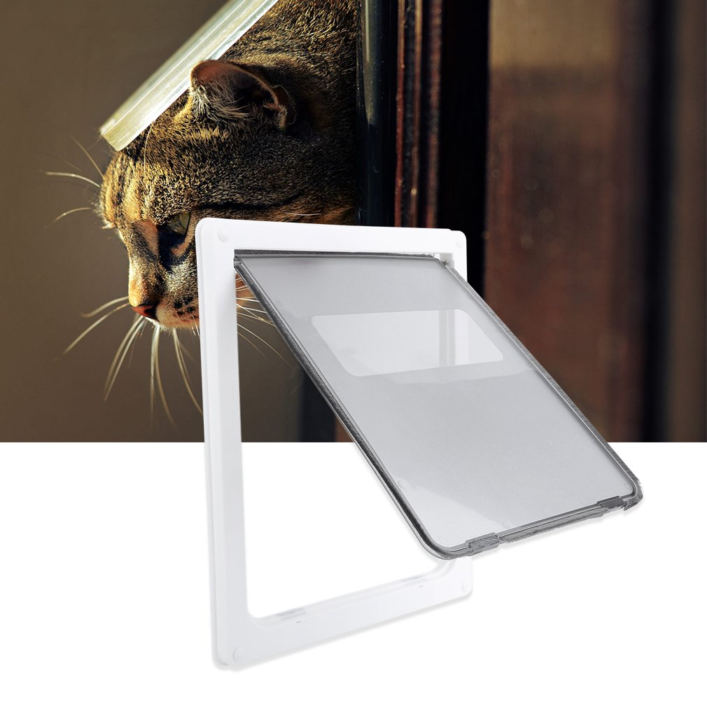 Pet Door Durable Lock Lockable Sliding Shutter Safe Large Dog Cats Pet Animals Security Flap Door Gate 17 X 14 Inch White by graceUget (Image #2)