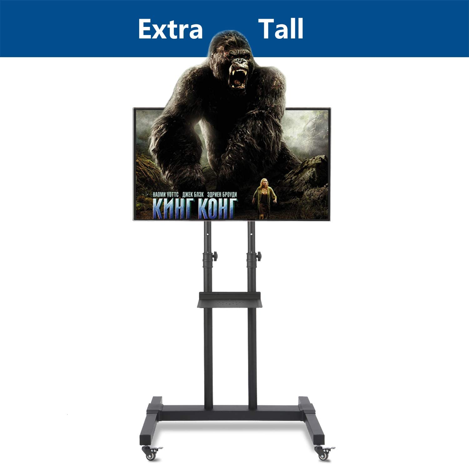 Rfiver Mobile TV Stand Rolling TV Cart with Tilt Mount and Locking Wheels for Most 37