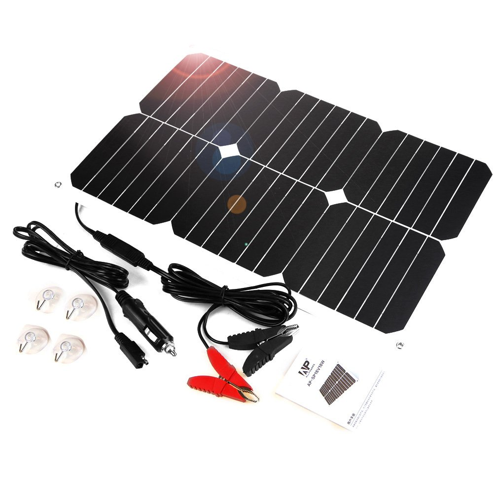 ALLPOWERS Solar Battery Maintaner 18V 12V 18W Solar Car Boat Power Panel Battery Charger Maintainer for Automobile Motorcycle Tractor Boat Batteries AP-SP-001-BLA